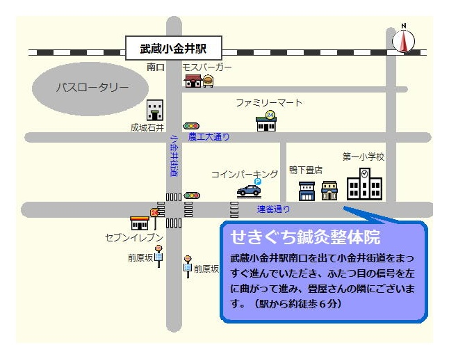 せきぐち鍼灸整体院|武蔵小金井 地図